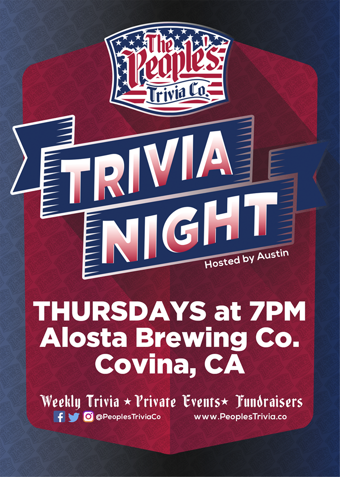 Join us each and every Thursday for our Weekly trivia night. Come hang out with us and Quizmaster extraordinaire Austin, as he tests your knowledge of random pop trivia. Get here early and get yourself a good seat!