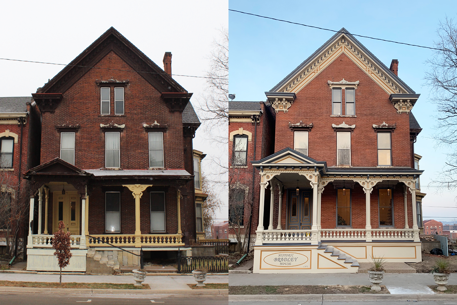 BEFORE & AFTER our restoration at 1268 Locust Street.
