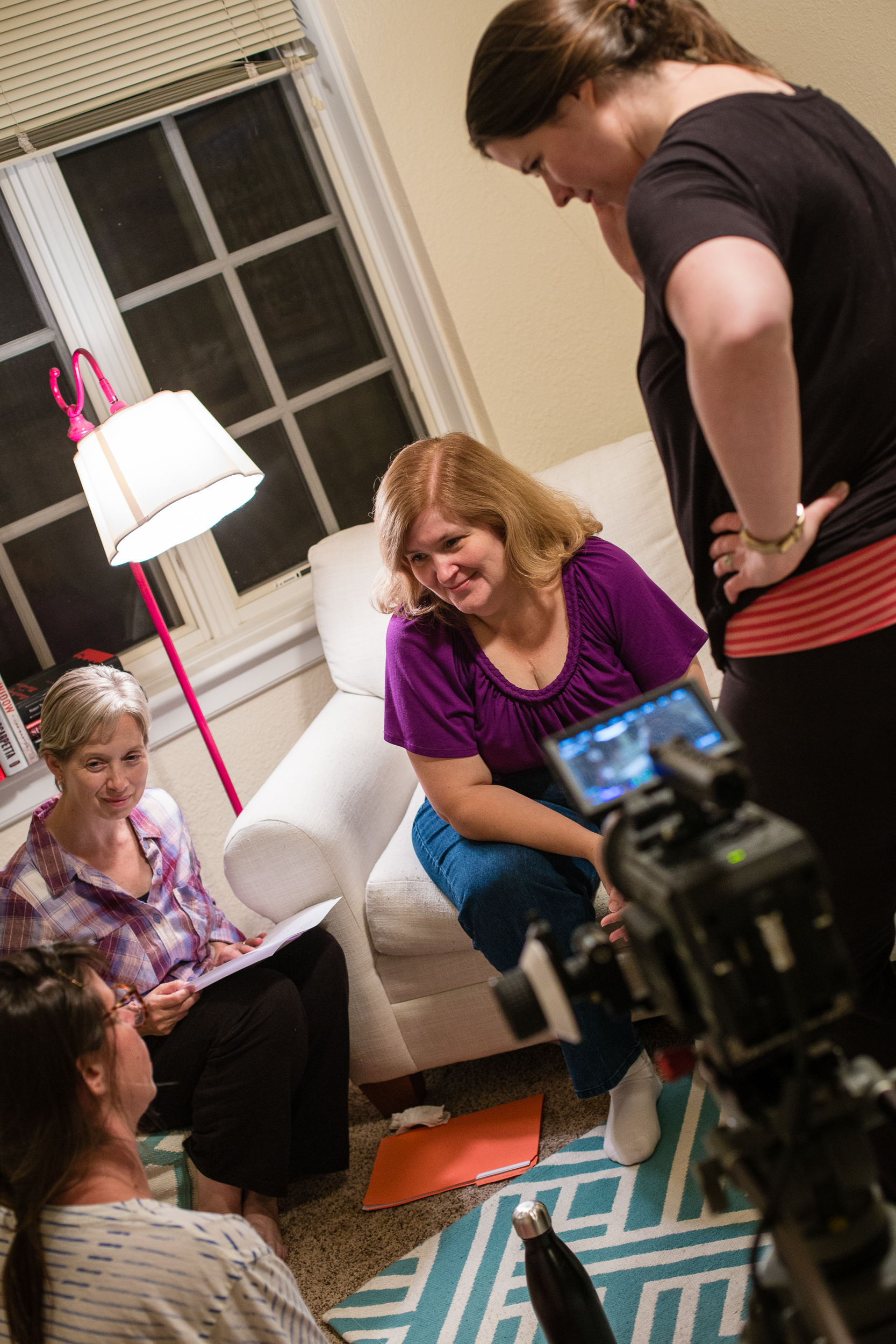 Day 1: Director Katie Stanley with Co-Creator/Co-writer Alice Stanley Jr. and leads Trish Brown and Chrissy Steele.