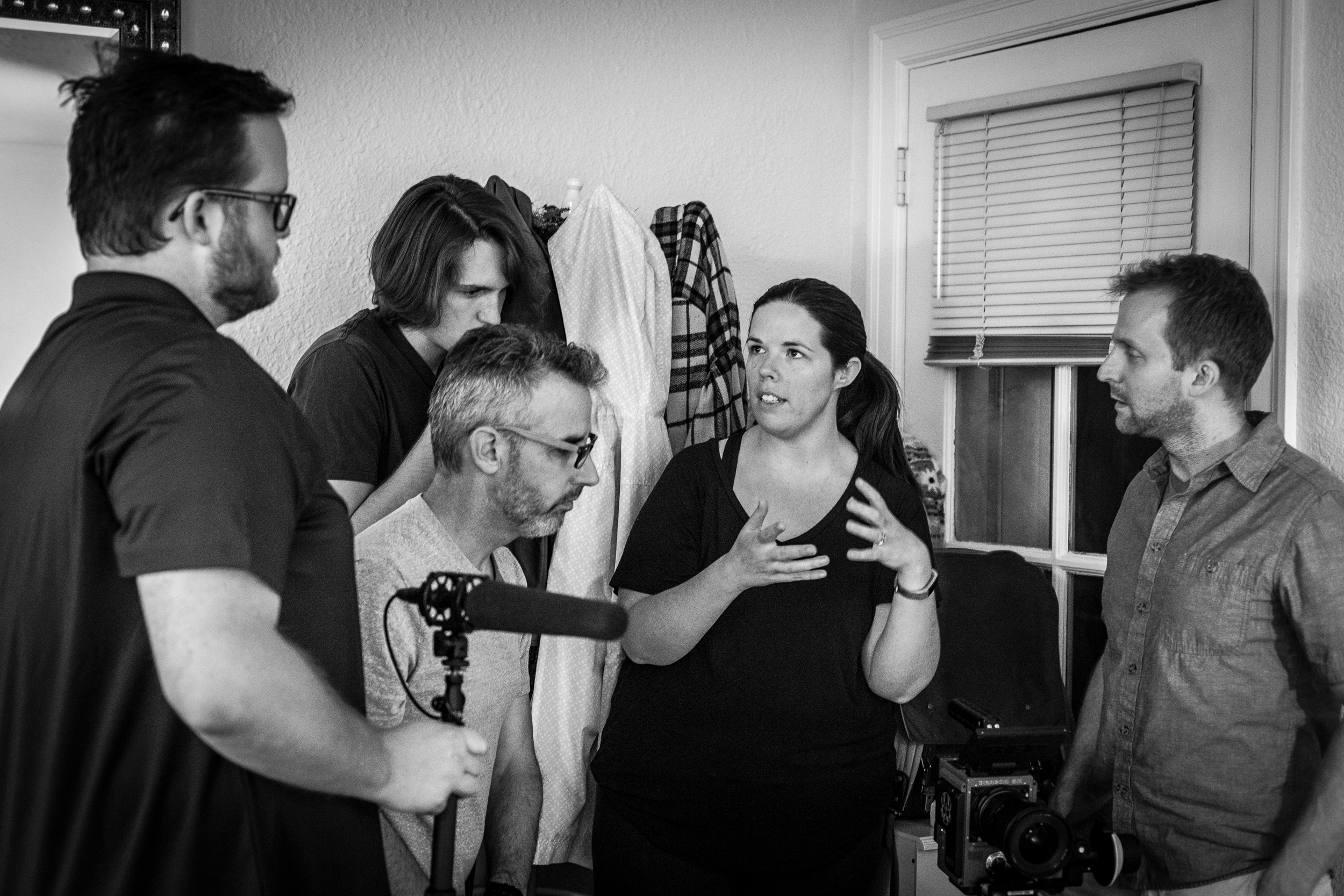Day 1: Director Katie Stanley with production staff.