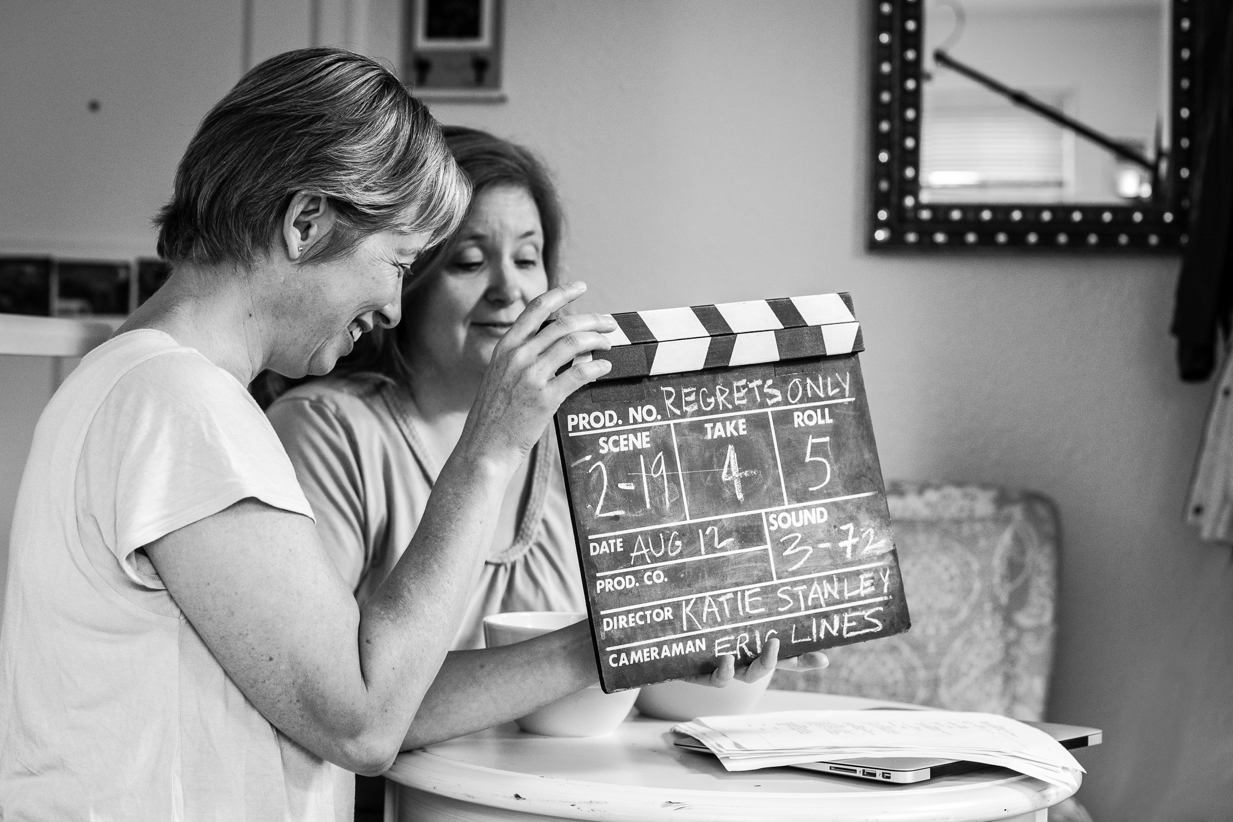 Day 4: Chrissy Steele and Trish Brown with the clapboard.