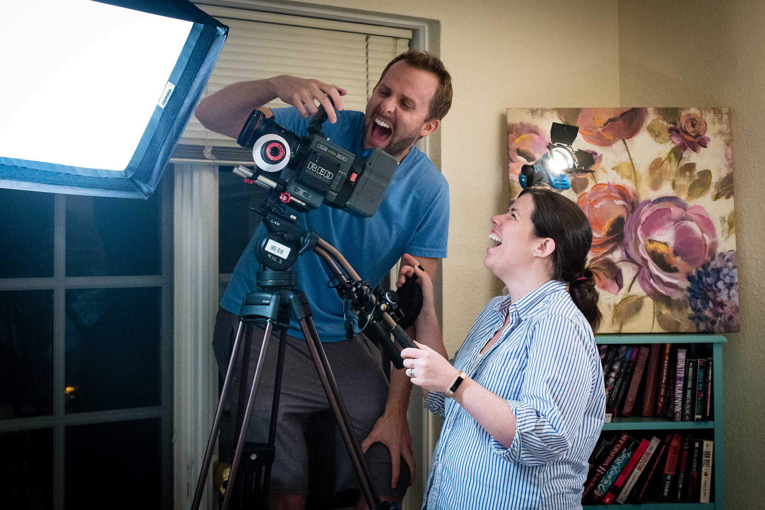 Day 4: DP Eric Lines and Director/Editor Katie Stanley enjoying footage from the day.