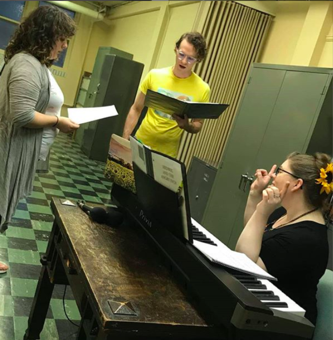Rehearsing at  St. Paul  with Sarah Gene Dowling as Yitzhak and  Luke Steingruby  as Hedwig. PC:  Casey Richards