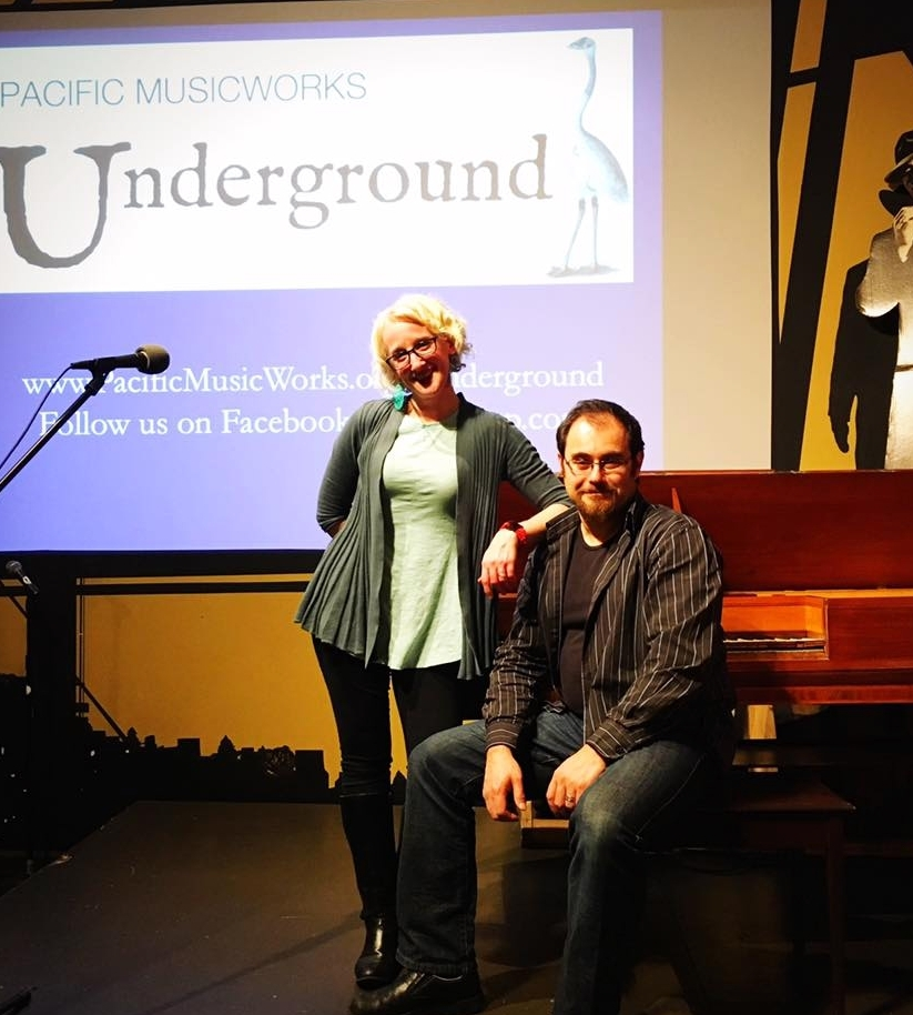 "Brenna Wells and Henry Lebedinsky at the Pacific MusicWorks Underground ""Mozart in the Rainforest"" Program at Naked City Brewery, Seattle WA"