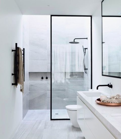 MARBLE MASTER BATH - Luxurious, timeless and minimalistic.Image by Pinterest
