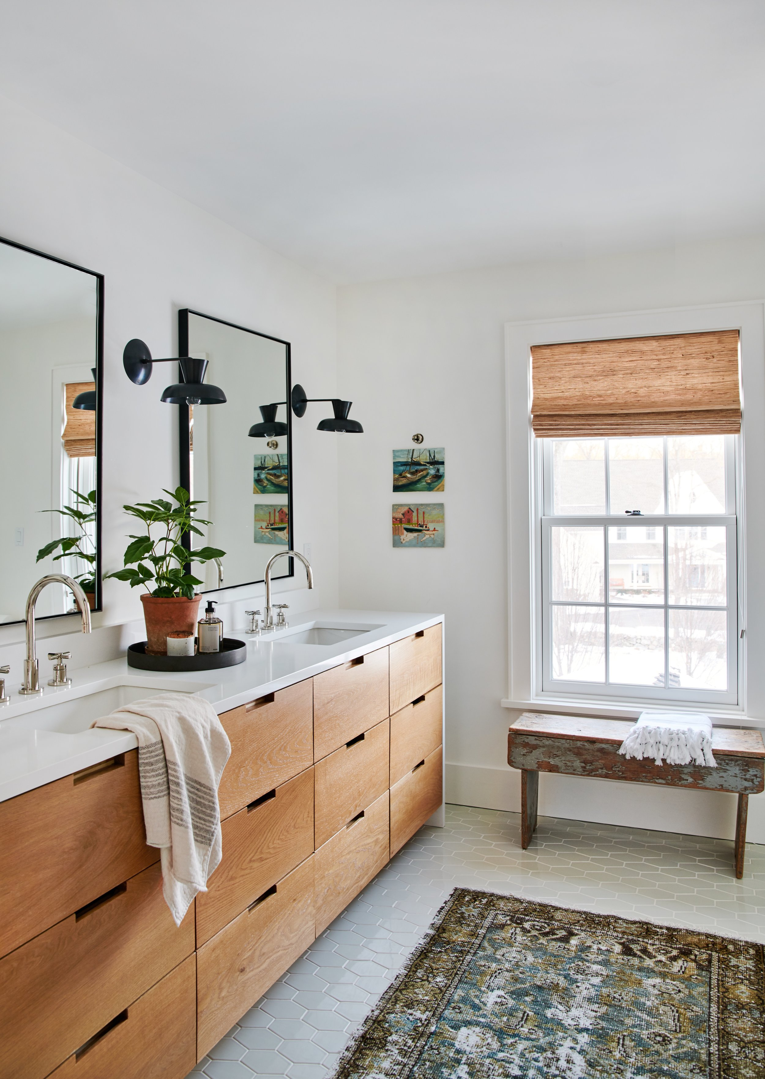 Flooring - Selecting your bathroom flooring is one of the key ingredients to a well planned remodel.Pro tip: When selecting a floor tile or mosaic, consider the slip resistance since each type of surface offers.Photo by Amber Interiors
