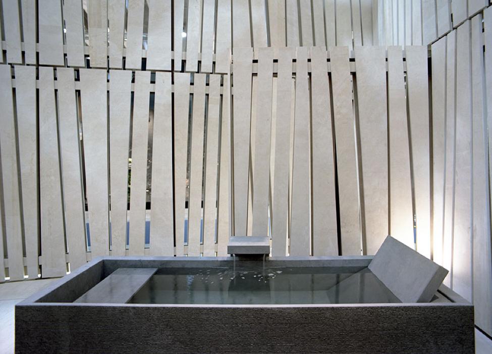 Modern Japanese bathtub made of Nero Assoluto stone.