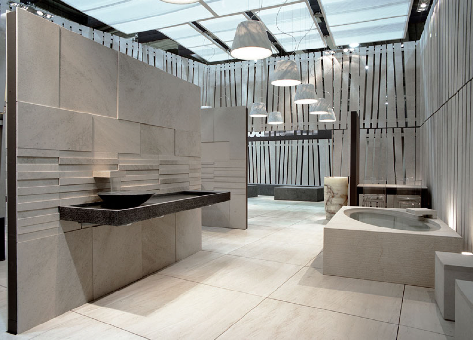 Suspended countertop and sink made of Nero Assoluto stone.