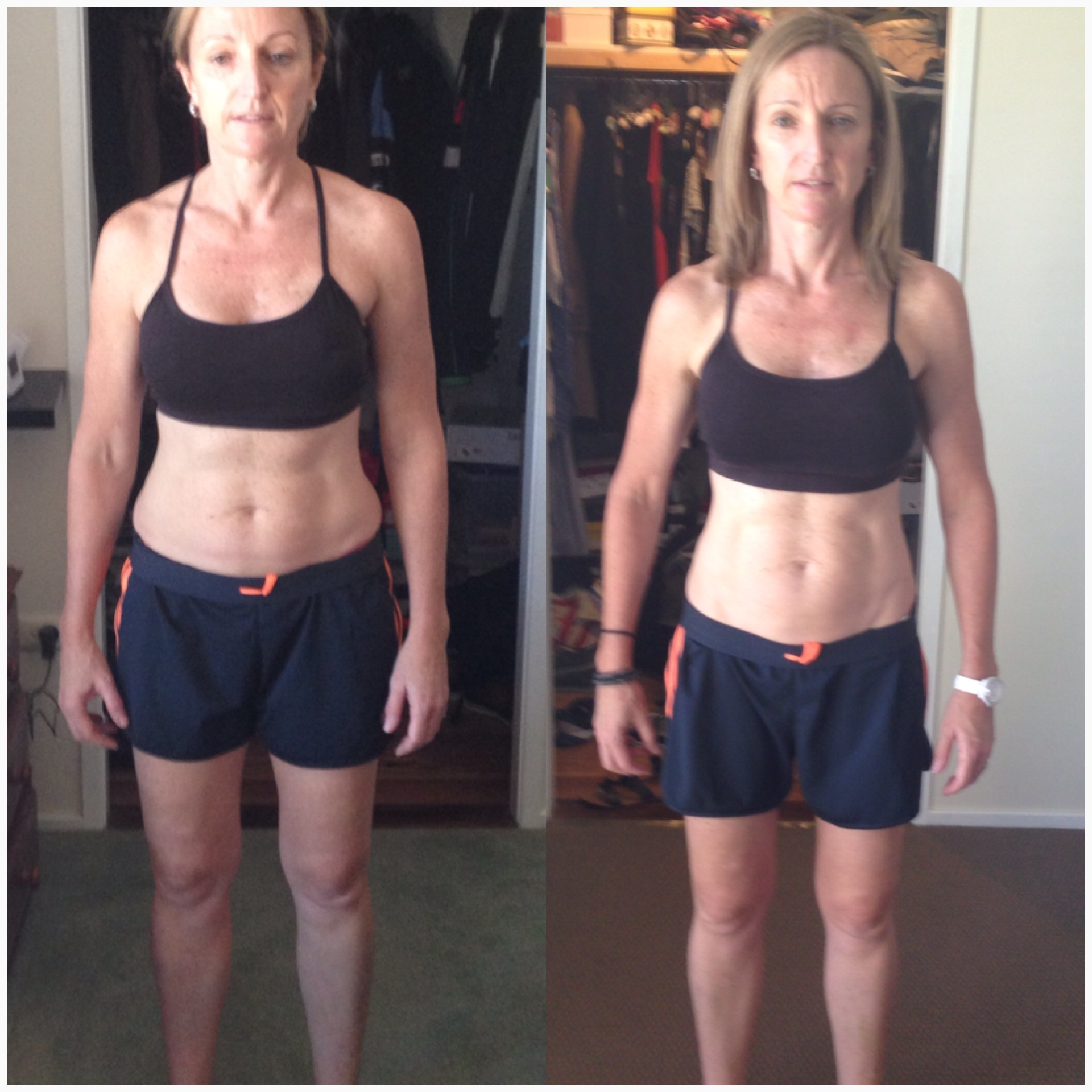 FRONT - Left: Before, Right: After 8 Week NH-Fit