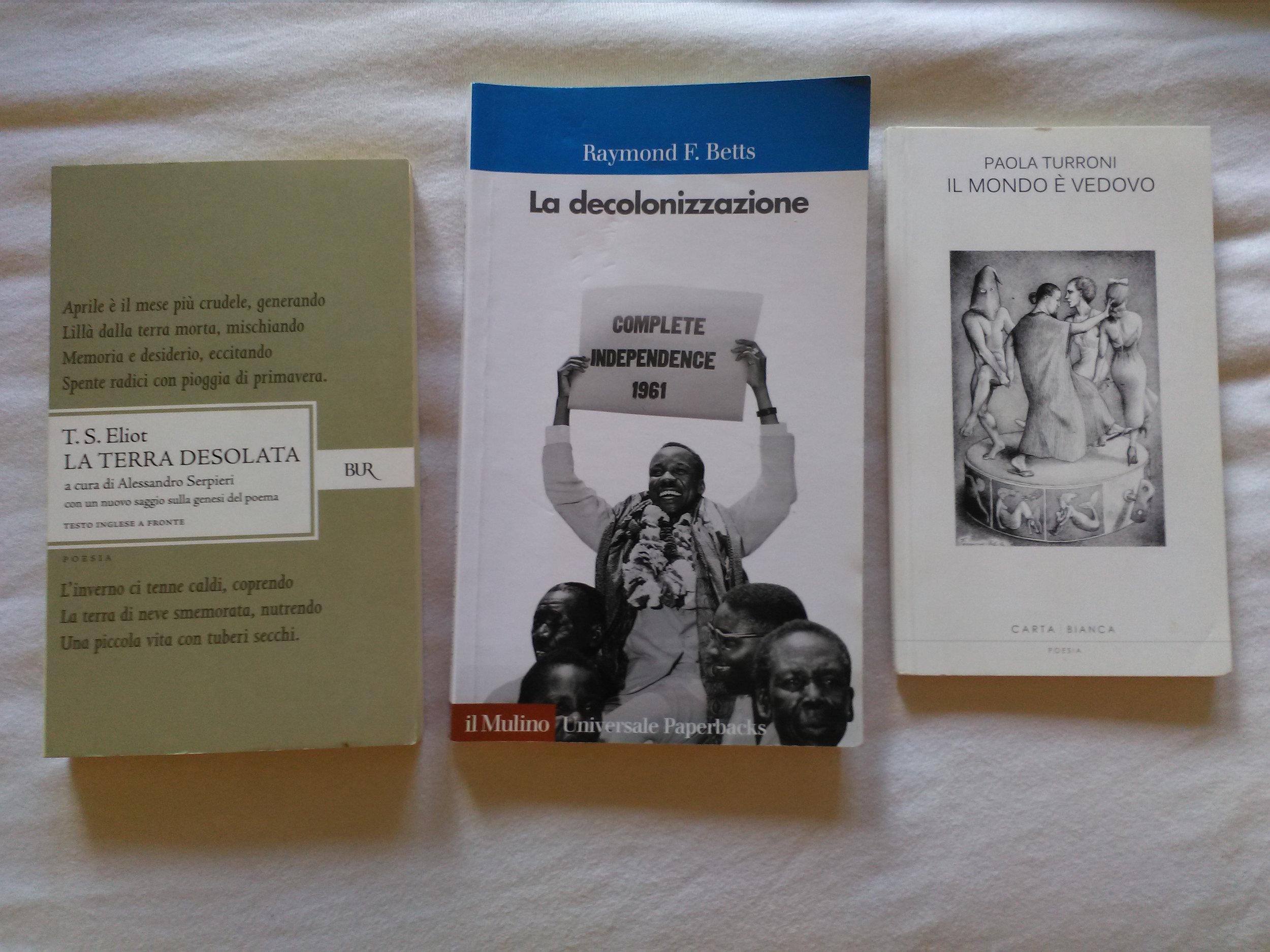 I libri che ho scelto per questo viaggio.
