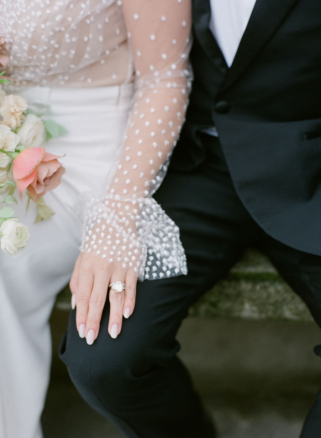 Jenny's ring and detail of her delicate  Rime Arodaky  gown   Greg Finck Photography