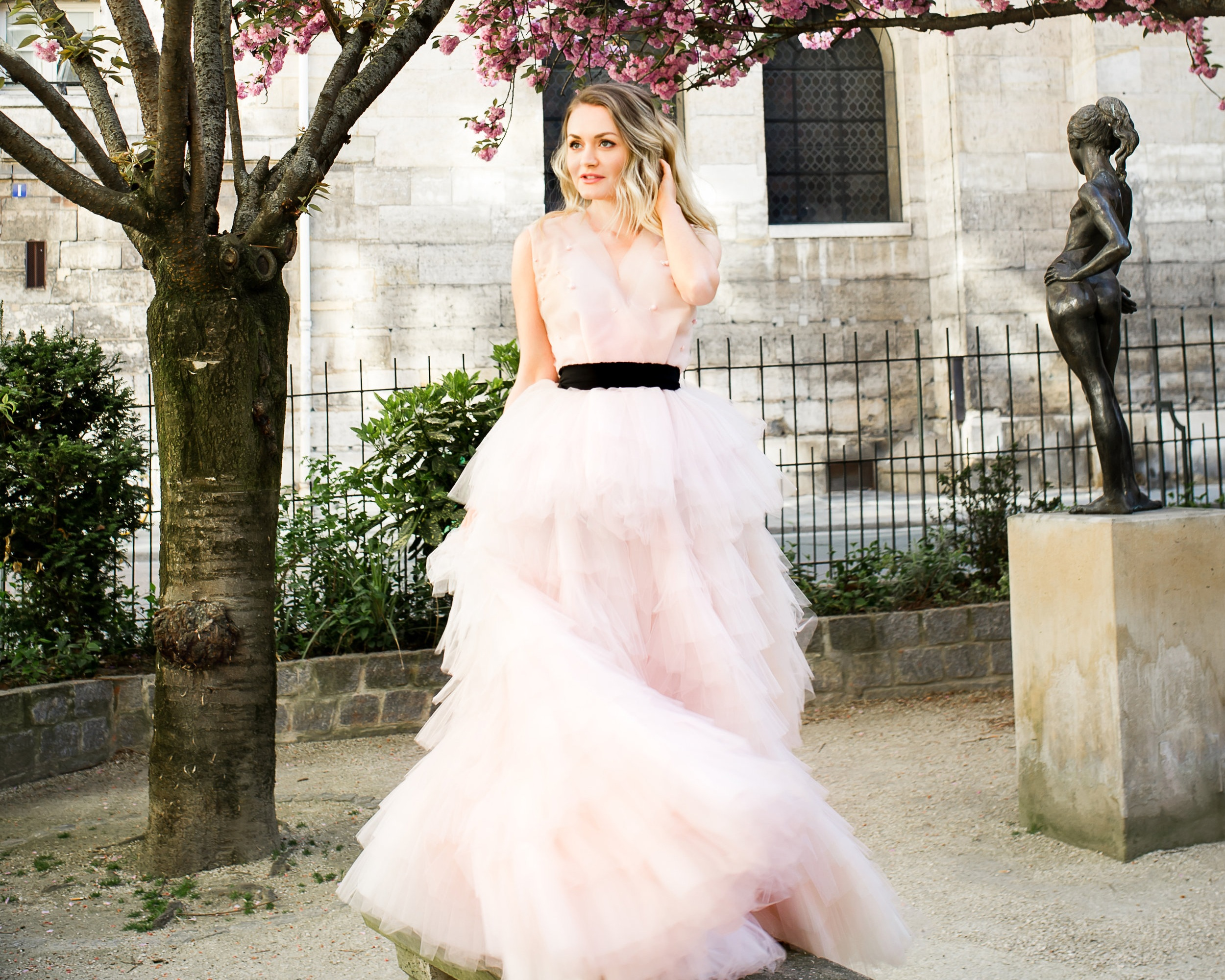 I styled my hair and makeup to match the chic elegance of my princess gown and to harmonize with the Paris springtime cherry blossoms!