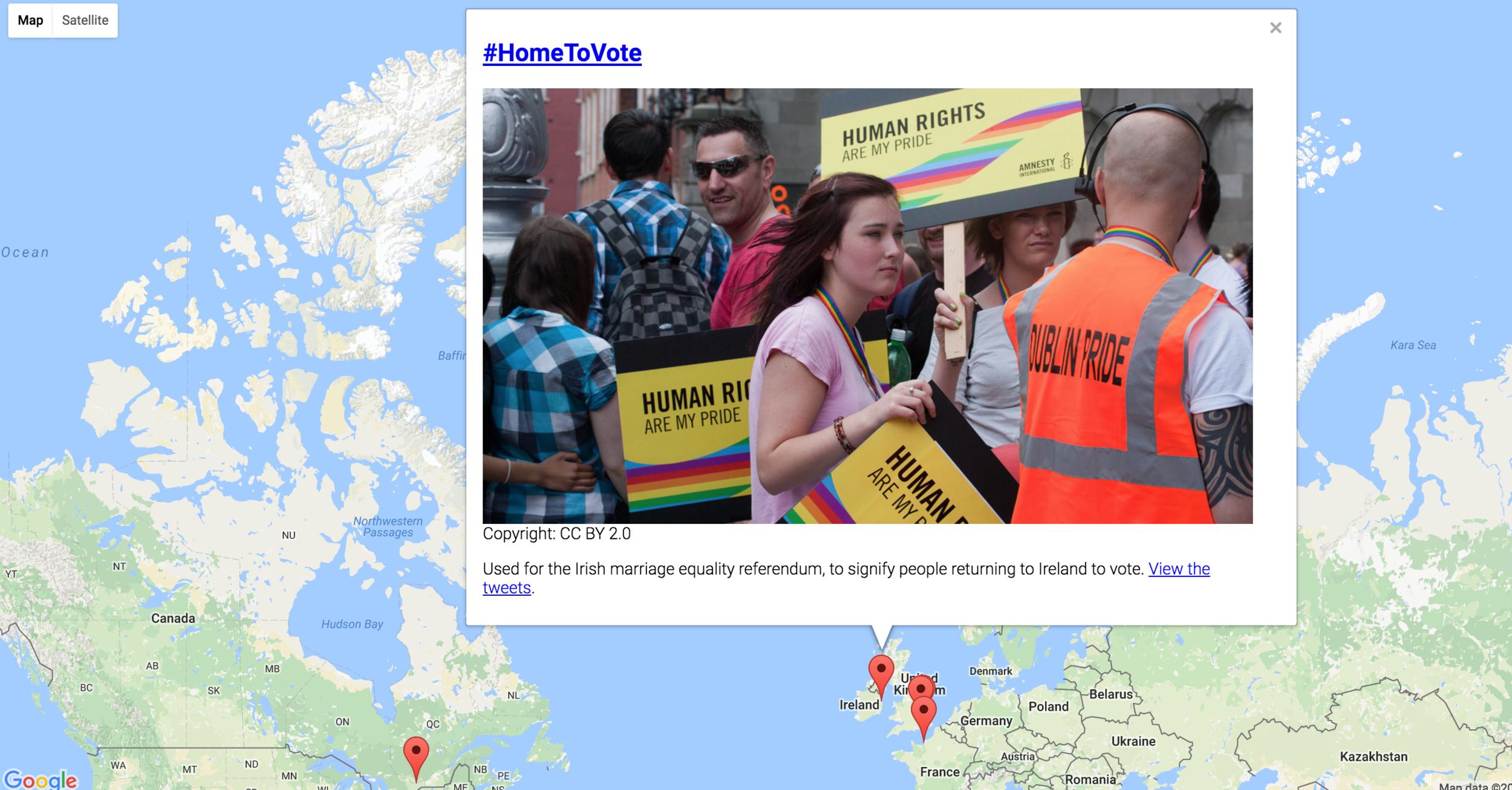Interactive hashtage map