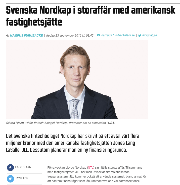 SVENSKA NORDKAP I STORAFFÄR MED AMERIKANSK FASTIGHETSJÄTTE