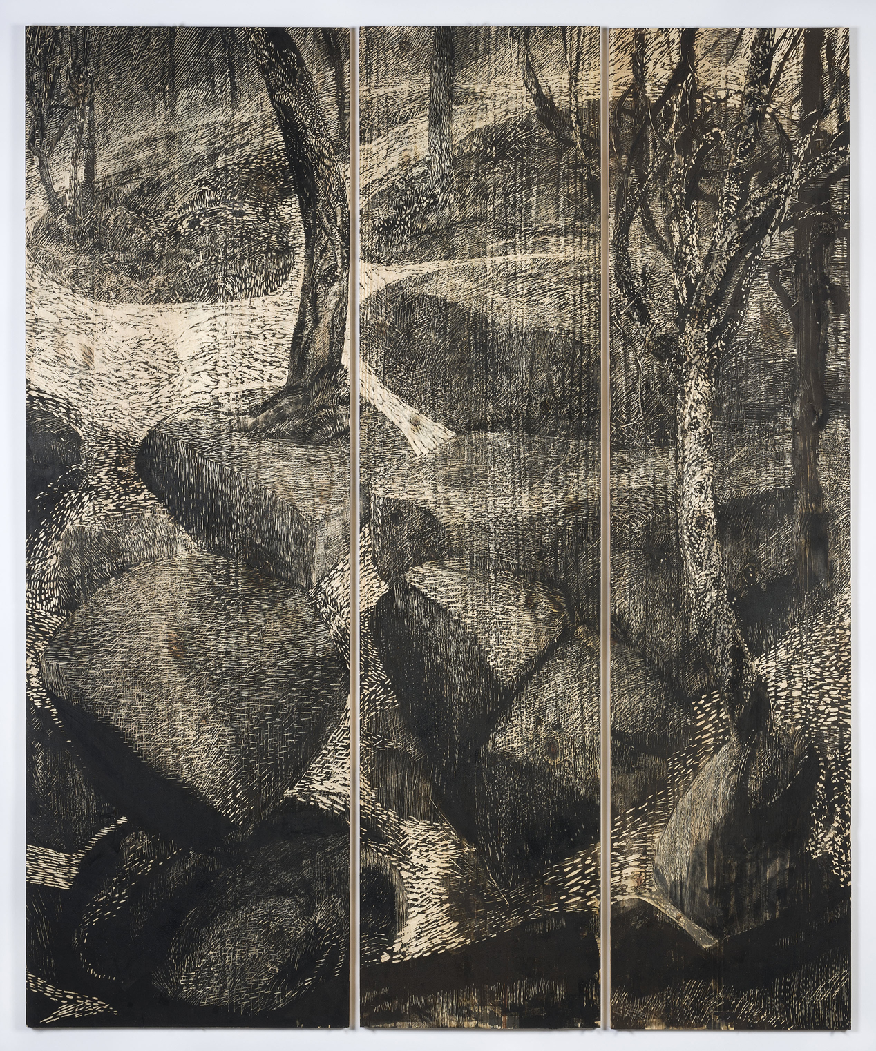 Midnight Glory , 2012, inked and carved wood panels, 74 x 60 inches