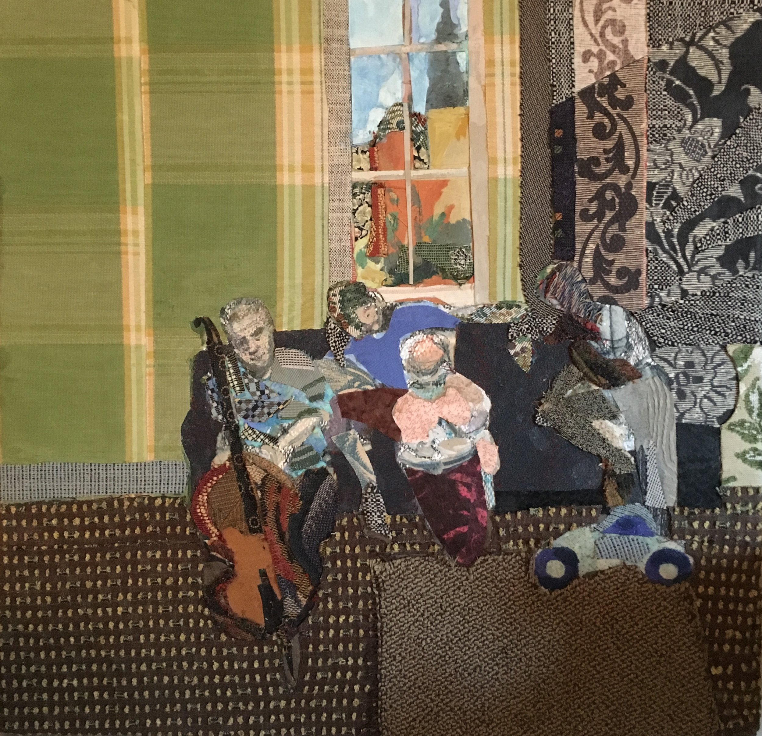 Homage to Vuillard (Family Group) , 2016, mixed media on canvas, 19 x 19.5 x 2.5 inches