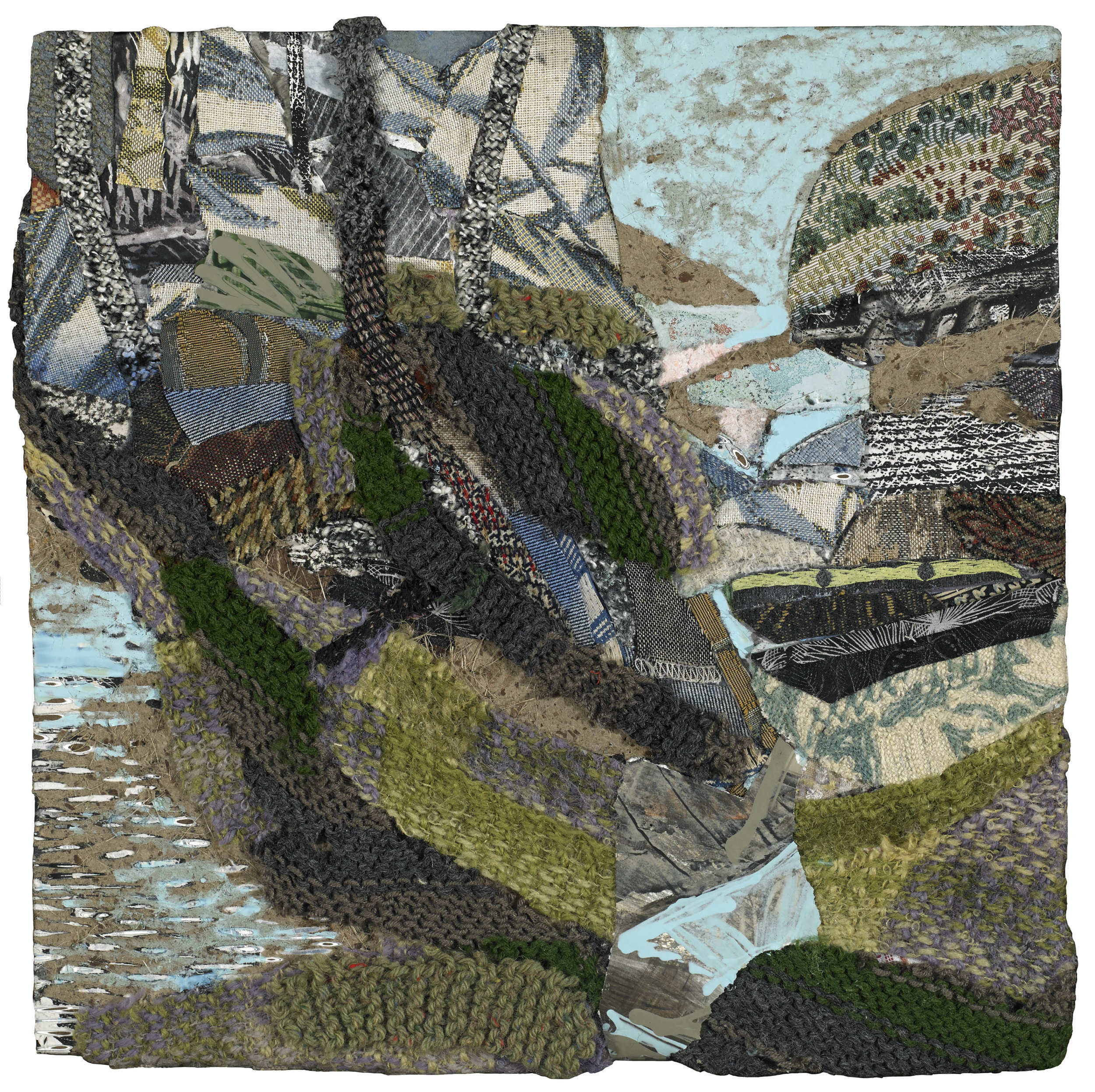 Inlet , 2013, mixed media on panel, 16 1/2 x 16 1/2 inches