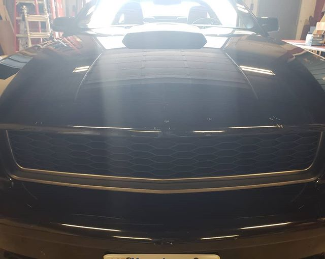 We can do any kind of racing stripes, factory or custom. And in any color combo too! • • • • #r2r #layerednotsprayed #3mwrap #1080 #paintisdead #mustang #racingstripes  #grayonblack #custom #looksfast #worcester #massachusetts #centralmass