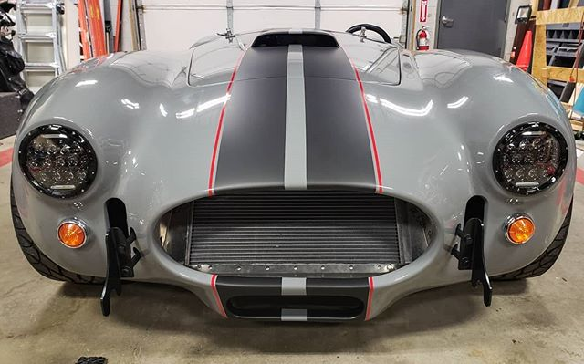 Check out it! The cobra is all finished and looking good. Want some custom for you car or truck? Let us know! ☆ ☆ ☆ ☆ ☆ #kitcar #cobra #ford #loud #allcustom #racingstripes #atleastitlooksfast #gray #matteblack #red #3m #1080 #layerednotsprayed #worcester #centralmass #ready2runwraps #massachusetts