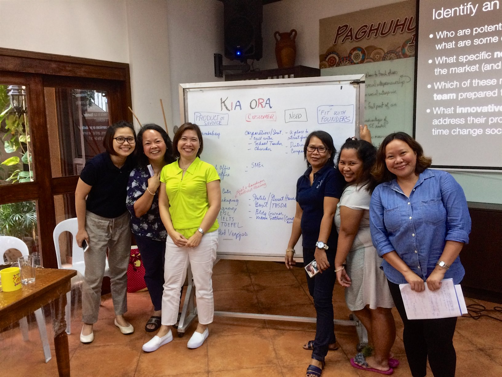 Samaritana staff presenting one of their social enterprise business plans