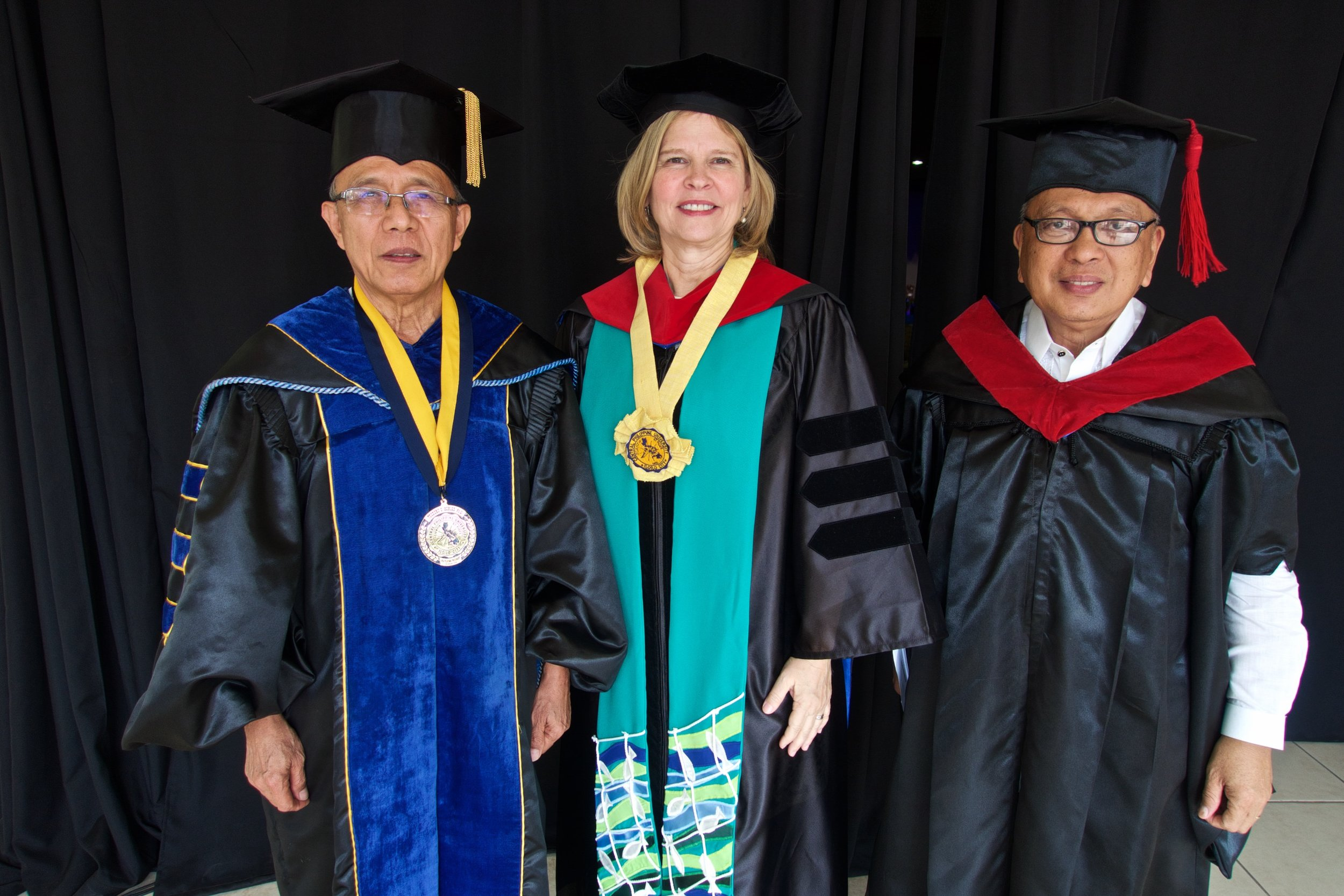 Dr. Robles, Ann, and Rev. Dr. Joniel Gico at the CPU Commencement