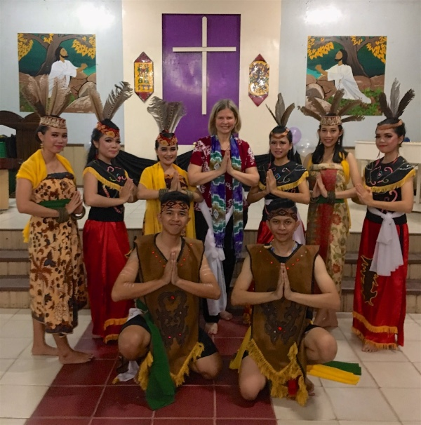 "Students proudly presented a traditional Dayak dance as a ""farewell gift"" to me"
