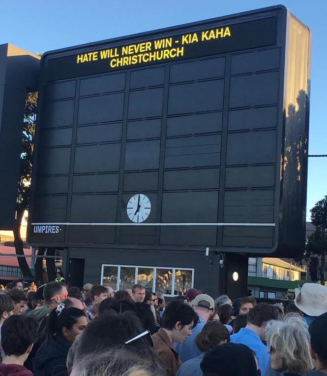 Kia Kaha (stay strong) sign in Christchurch.