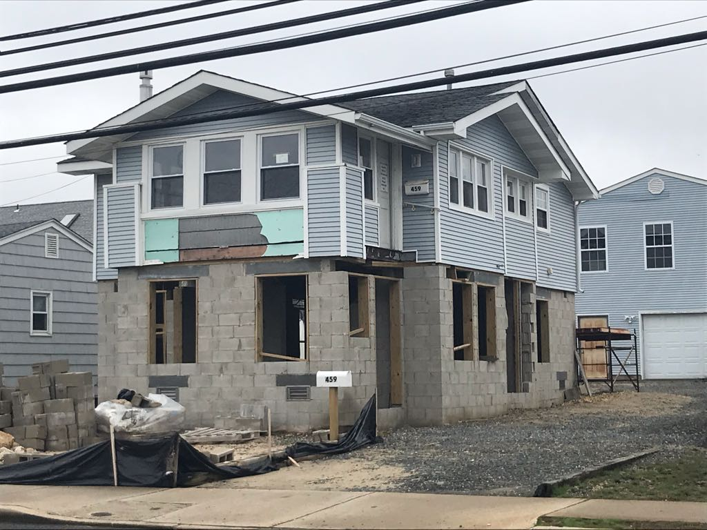 A house rendered uninhabitable by Super storm Sandy still waits to be rebuilt in Manasquan, NJ