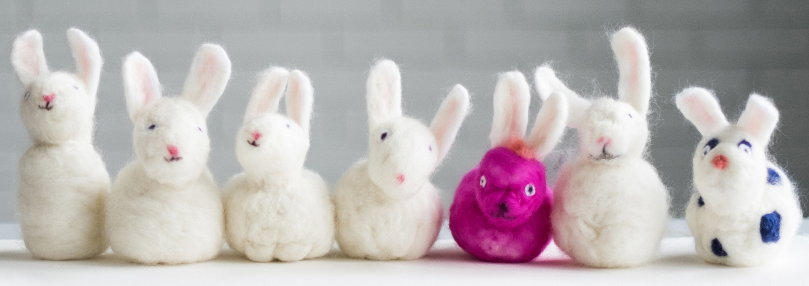 The kids each Needle Felted a Bunny !