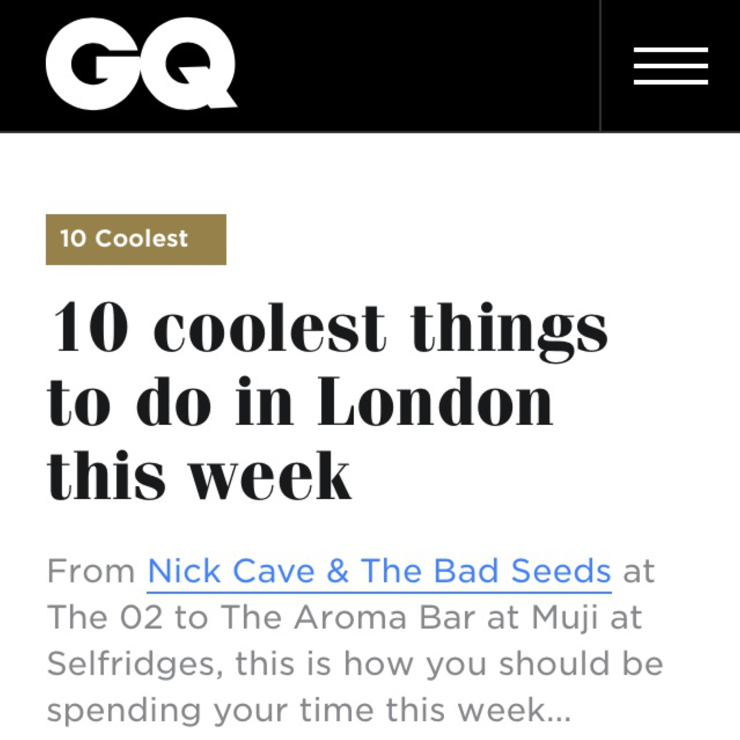 - Manifesto was in the GQ 10 coolest things to do in London, 25th September 2017.