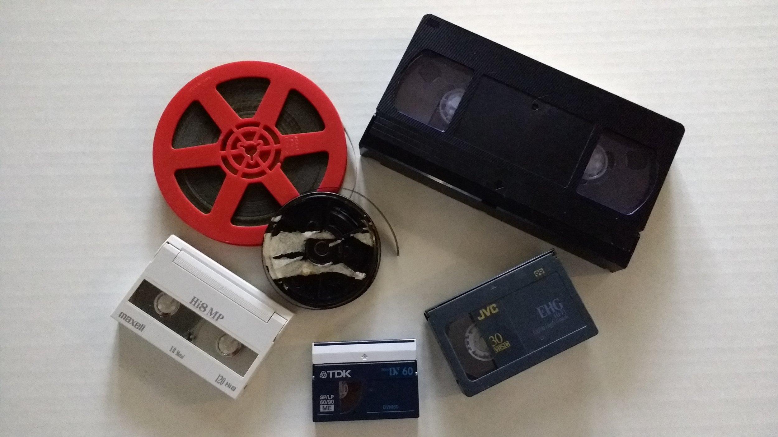 8mm, Super8, VHS, VHS-C, Hi8, and mini-DV conversion available.
