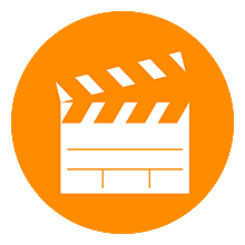 Film clapboard icon representing video production.