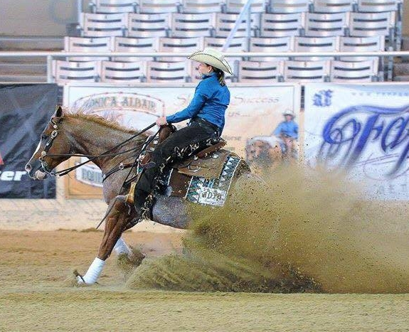 Laura Johnson and Vintage Sparks: Prime Time Non Pro Champion, Limited Non Pro Reserve Champion, Rookie 2 - 4th Place Circuit - (Photo not from Reining By The Bay)