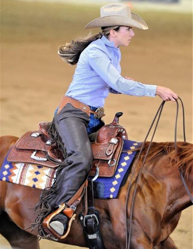 Joanna Brewer and Spook Me Now:Rookie Professional - 4th Place - (Photo not from Reining By The Bay)