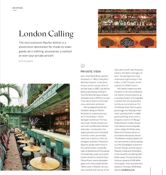 My piece on bespoke London cocktails @annabelsmayfair, @globe_trotter1897 luggage and more for Gulfstream Nonstop @gulfstreamaero