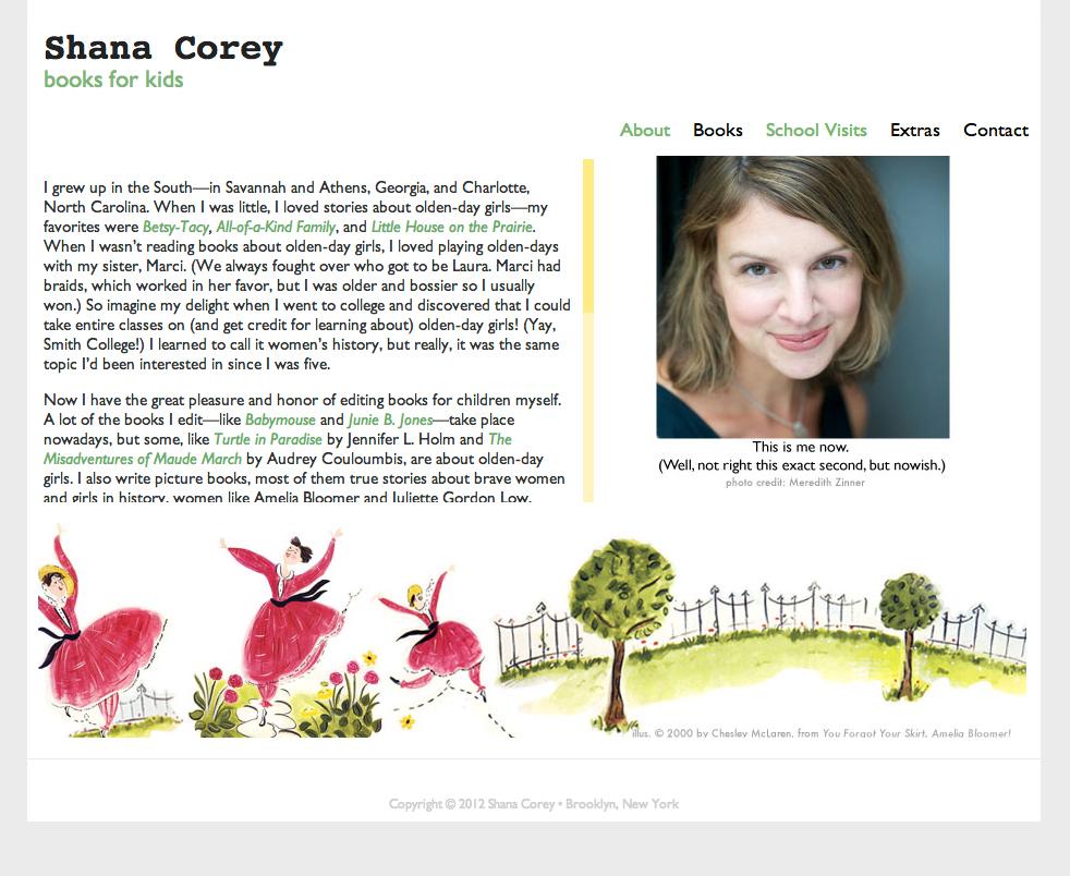 Website for award winning author, Shana Corey.