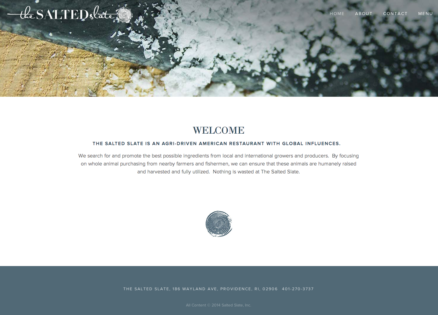 "Website and branding for the restaurant, The Salted Slate.  Fun fact: the image in the logo and the ""mark"" are made from hand stamping a cross section of a leek."