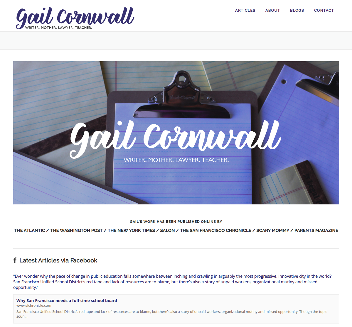 Wordpress redesign for writer/columnist/blogger Gail Cornwall. I created the custom logo as well.   The home page features a Facebook feed of her current articles that updates automatically.