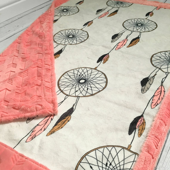 Luxe double minky blanket handmade by  TheDesignerMinkyCo.  using the  dreamcatcher  design in jumbo scale.