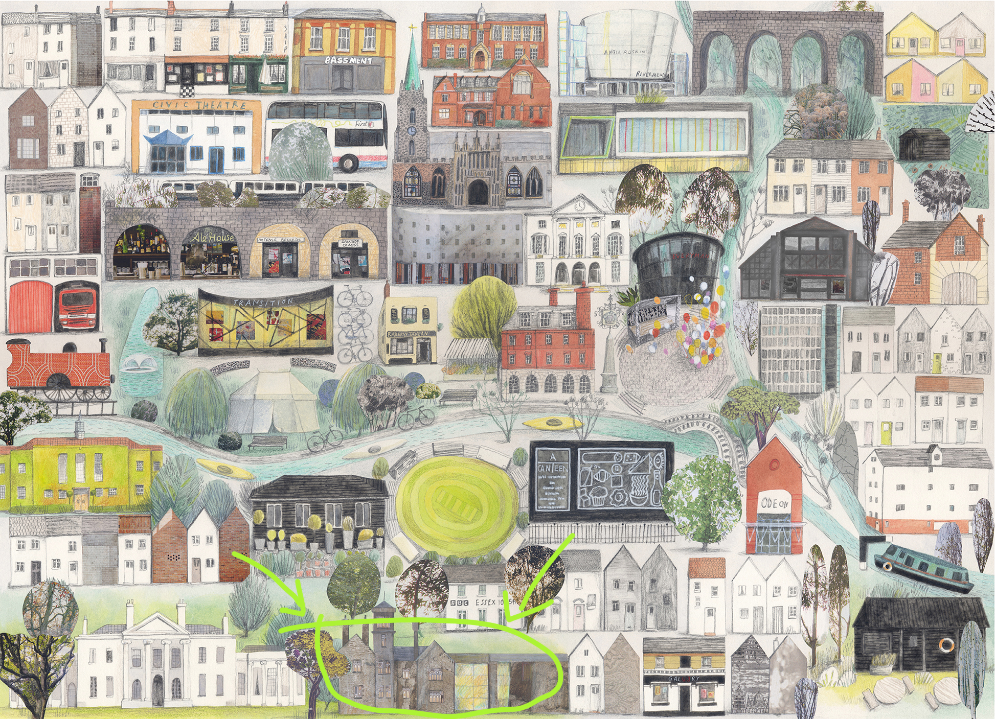 """This """"Chelmsford"""" map print is available at A2 or A3 size and it even helps you find the museum!"""