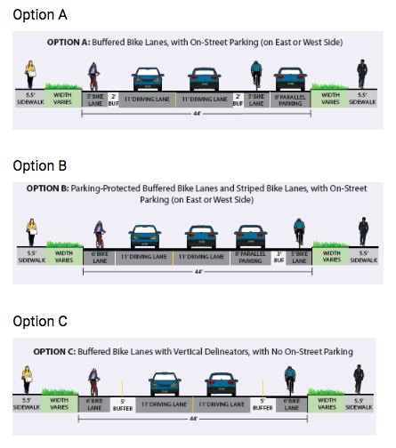 Design Options for Broad Street: Three options are presented.
