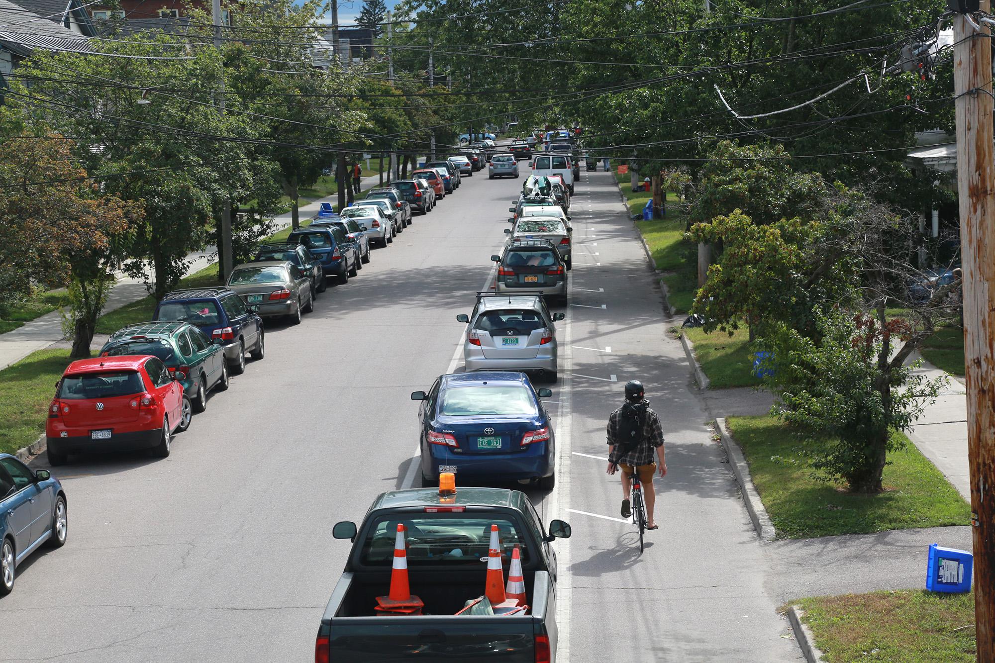 Parking Protected Lane in Burlington, VT