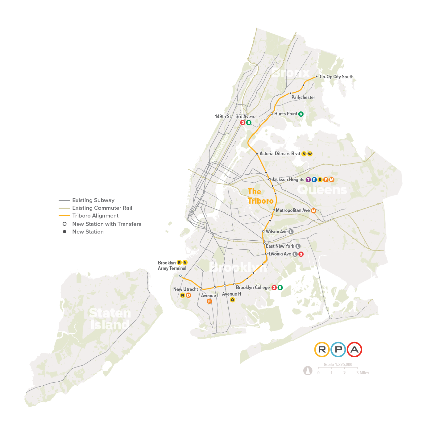 A map of the Triboro's proposed route. Courtesy of Regional Plan Association