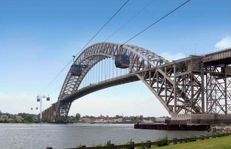 Aerial trams moving along the Bayonne Bridge. Courtesy of Leitner-Poma of America
