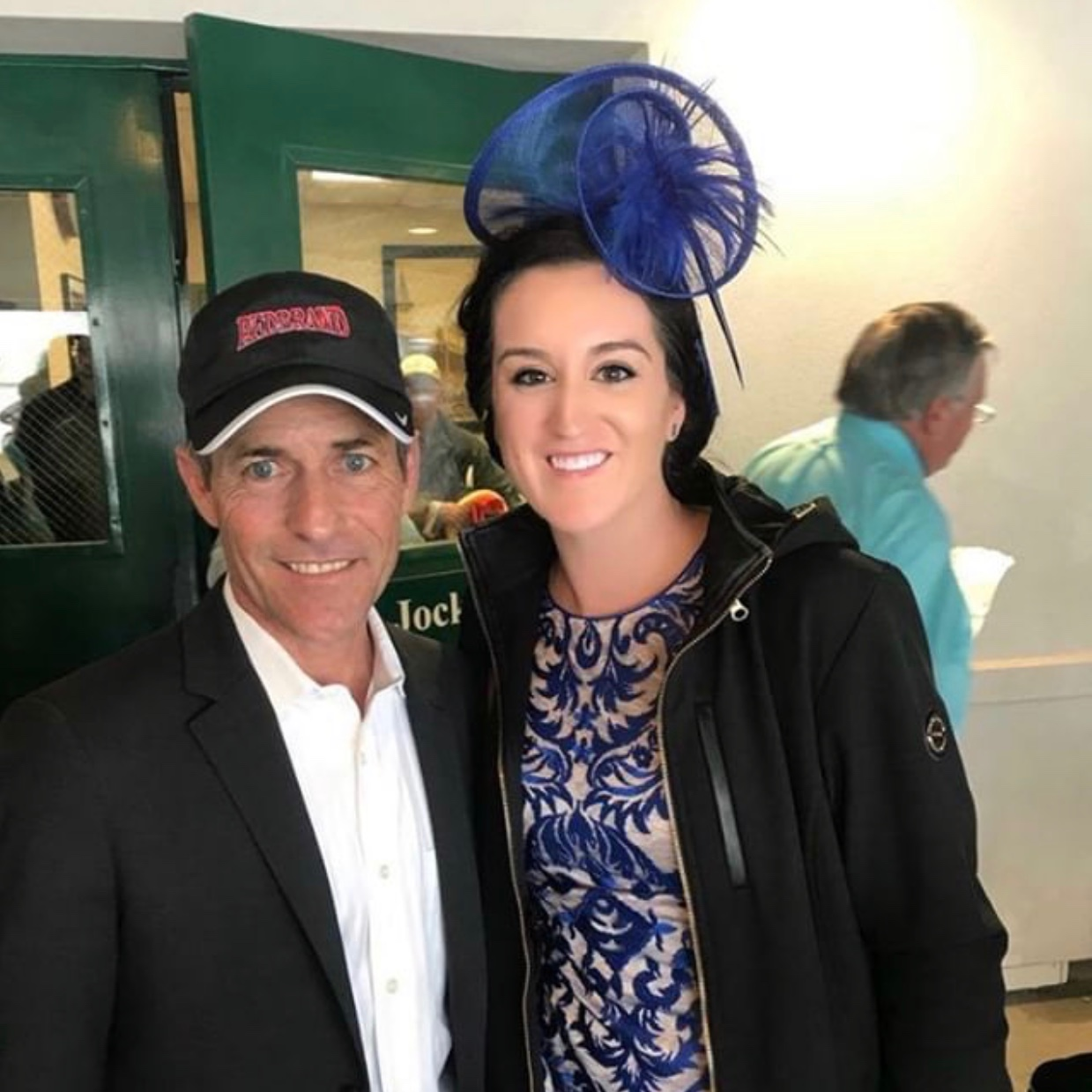 Kelly (right) with her client, hall of fame jockey Gary Stevens, left.