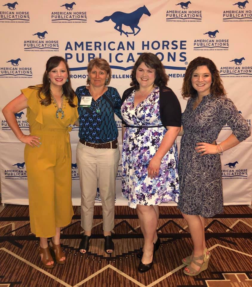 At AHP 2019, Kate Bradley Byars (left) and Abigail Boatwright (far right) were able to watch two The Freelance Remuda Mentorship Program graduates in action. Allison Rehnborg, next to Abigail, picked up an award for her work. It was great to see them networking!