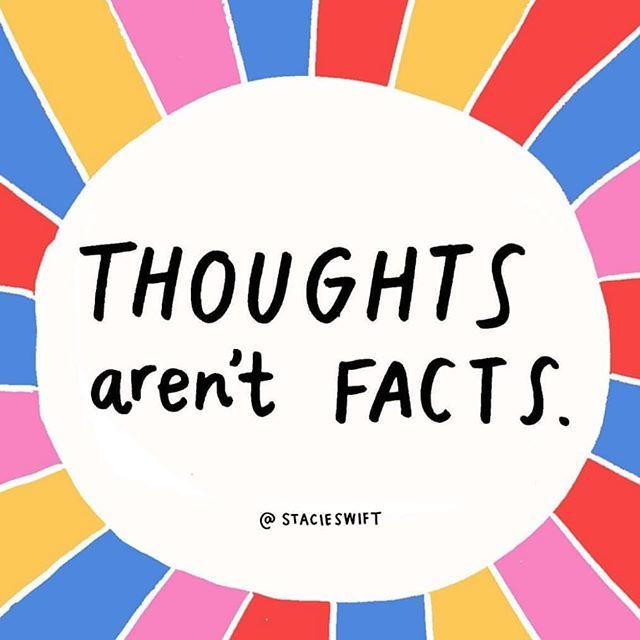 """🧠THOUGHTS AREN'T FACTS💭tror du på alt du """"hører"""" i hodet ditt? Just fyi 🤸🏼♀️Selv om vi tenker noe betyr det ikke at det er sant! ✔️ . Det er lett å bli caught up i egne tanker og tro på det vi sier til oss selv... men et tips for å ta en liten sjekk på om det som foregår er realistisk: sett alarm på mobilen som minner deg på å take a step back, og si wait a minute, er dette en reel fakta-opplysning? Stemmer det negative jeg nettopp sa om meg selv til meg selv, sånn egentlig? Ville jeg sagt dette til min bestevenn eller en bekjent? Nei? Da er det mest sannsynlig ikke noe som gjelder deg heller, så fremt du ikke har gjort noe kjempe groteskt og skadet masse mennesker. .  Ingen tjener på at du tror på dine tanker som ikke er sanne, ihvertfall ikke du🤗 self awareness is key, man må bare komme på at det er en øvelse man må gjøre helt til det sitter på autopilot og faktisk tankene blir bare som skyer som blåser forbi, så kan du høre på de som stemmer og la være å høre på de som ikke er realistiske💪🏼 #powerladiespodcast #kjærlighet . #glede #treningsglede #inspirasjon #motivasjon #inspirasjonsguidennorge #trening #livsstil #mentalhelse #livsstilsendring #mentaltrening #helse #takknemlighet #oslo #norge #aktivhverdag #bærekraft #aktivejenter #aktivlivsstil"""