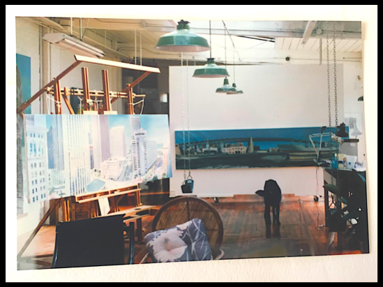 """Both """"American Noah"""" and """"Market and Drumm Streets"""" on display at Artworks Studios, 60th Street, Oakland"""