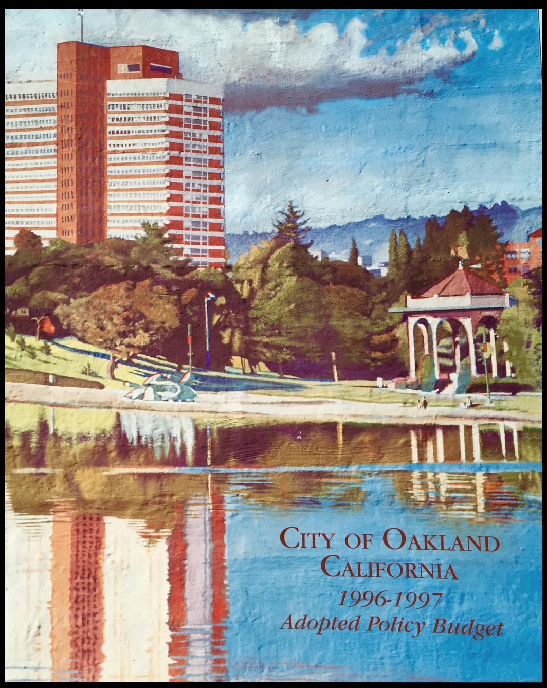 (Close up view of The Lake Merritt Mural on the cover of City of Oakland Adopted Policy Budget)