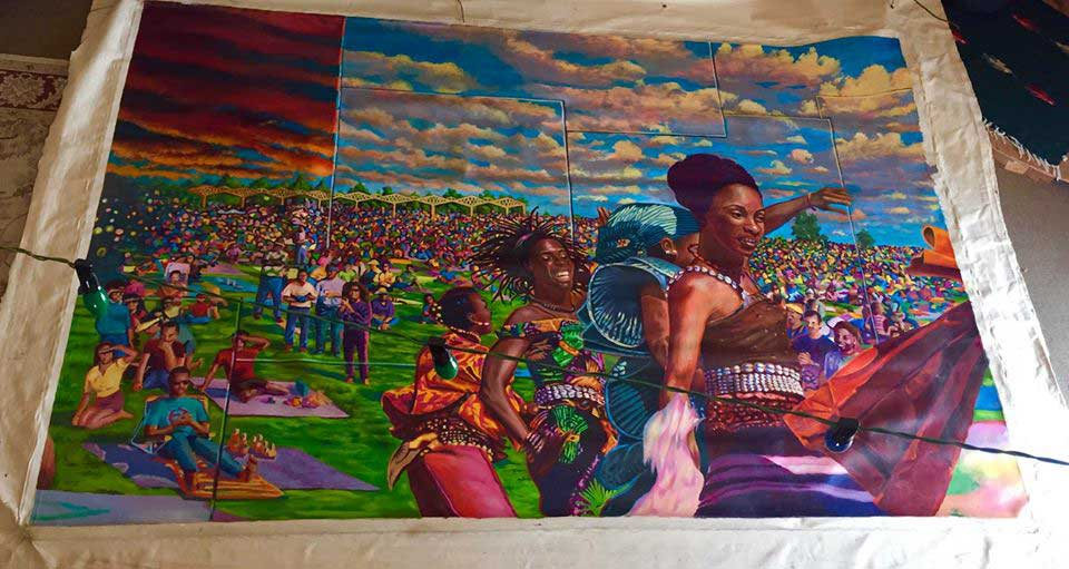 Panel three with dancers from Fua Dia Congo before a crowd at Estuary Park.